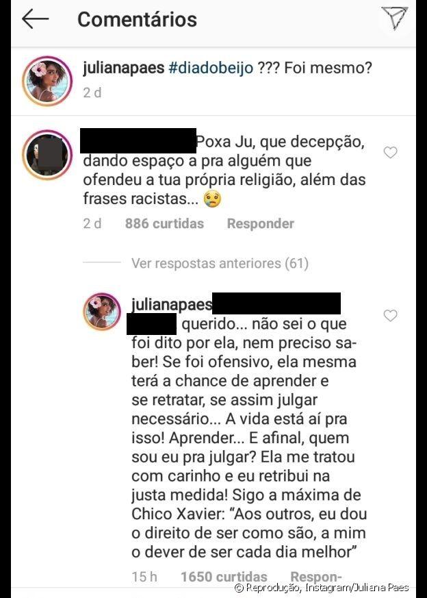 Juliana Paes responde internauta sobre crítica a Paula