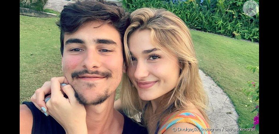Bruno Montaleone fez exercícios com namorada, Sasha Meneghel, nesta quinta-feira, 9 de maio de 2019