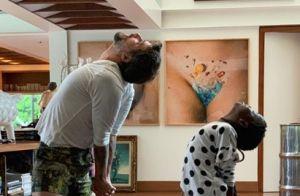 Tal pai, tal filha! Títi faz yoga ao lado do pai, Bruno Gagliasso. Fotos!
