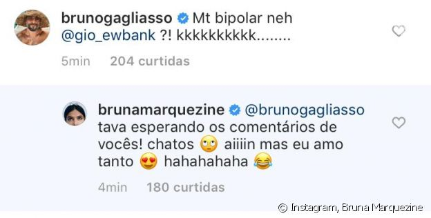Bruna Marquezine é zoada por Bruno Gagliasso em post no Instagram