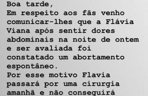 Flávia Viana anuncia interrupção de gravidez: 'Aborto espontâneo'. Detalhes!