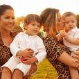 Andressa Suita e a mãe, Suely, protagonizaram fotos com Gabriel e Samuel, em comemoração ao dia das mães