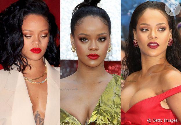 Batom vermelho: Rihanna usando três tons diferentes da cor