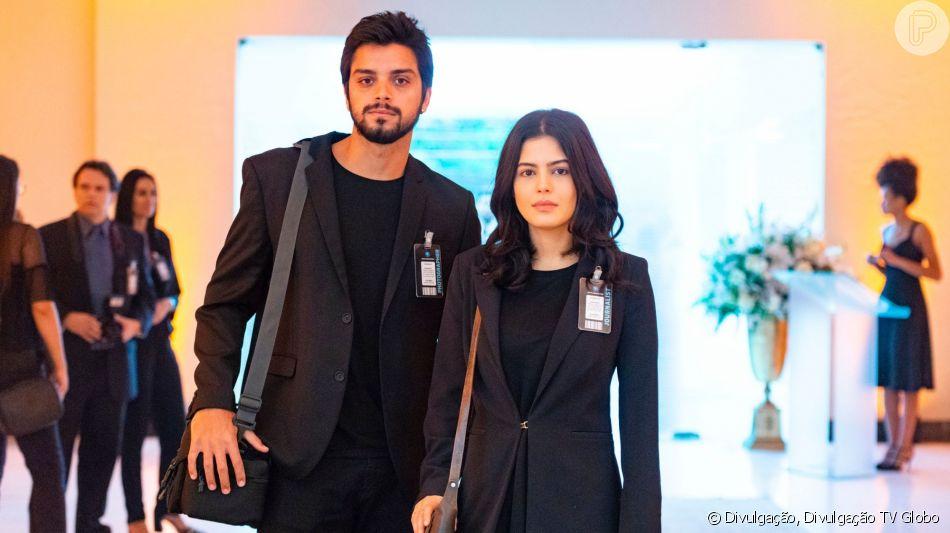Laila (Julia Dalavia) e Bruno (Rodrigo Simas) marcam casamento na novela 'Órfãos da Terra'