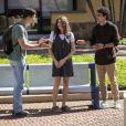 Beto (John Buckley) trata Meg (Giulia Bertolli) mal e Guga (Pedro Alves) apoia a jovem na novela 'Malhação: Toda Forma de Amar'