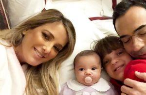 Bebê sorriso! Filha de Tici Pinheiro e Tralli surge animada em foto: '3 meses'