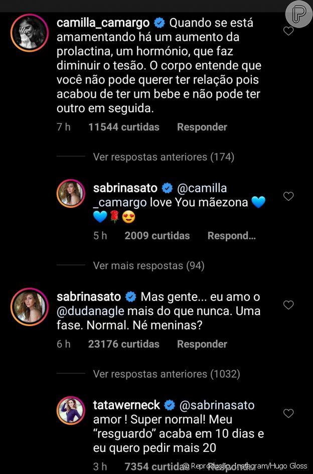 Sabrina Sato recebeu o apoio de Tatá Werneck e Camilla Camargo no Instagram