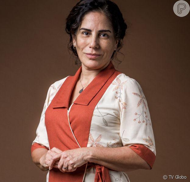 Lola (Gloria Pires) descobre que Júlio (Antonio Calloni) tinha um caso com Marion (Ellen Rocche) na novela 'Éramos Seis'
