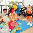 Sabrina Sato mostrou a filha, Zoe, interagindo com os primos, Manuela e Felipe