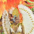 Munik Nunes representou um anjo no desfile da Colorado do Brás, neste sábado de carnaval, 22 de fevereiro de 2020