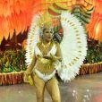 Munik Nunes estreou no carnaval de São Paulo usando fantasia com 8 mil cristais e avaliada em R$ 30 mil, neste sábado de carnaval, 22 de fevereiro de 2020