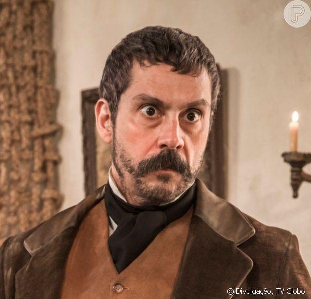 Na novela 'Nos Tempos do imperador', Tonico (Alexandre Nero) quer vingar a morte do pai, o coronel Ambrósio (Roberto Bomfim)