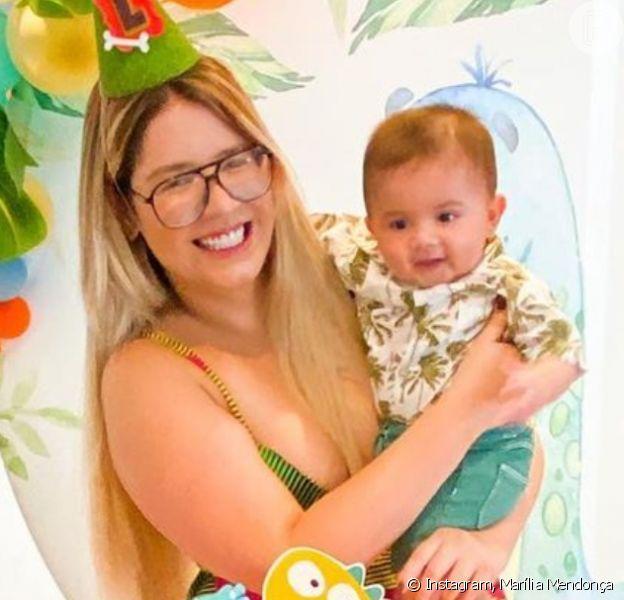 Marília Mendonça faz festa para filho, Léo, por 5º mesversário