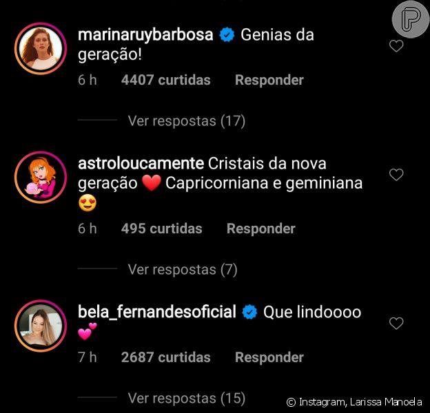 Marina Ruy Barbosa comenta em foto de Larissa Manoela e Maisa Silva