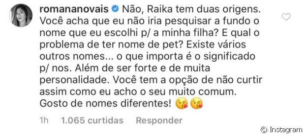 Romana Novais rebate crítica ao nome da filha, Raika