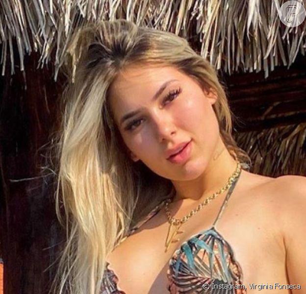 Virgínia Fonseca curtiu dia de piscina e ganhou declaração em foto de biquíni do namorado, Zé Felipe: 'Te amo'