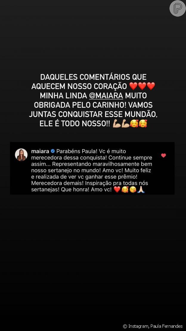 Cantora Paula Fernandes responde comentário de Maiara, dupla de Maraisa