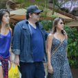 Leandro Hassum e a família estiveram no Shopping Village Mall, na Barra da Tijuca