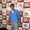 Bruno Mazzeo posa sorridente na coletiva de imprensa do filme 'Vai que dá certo'