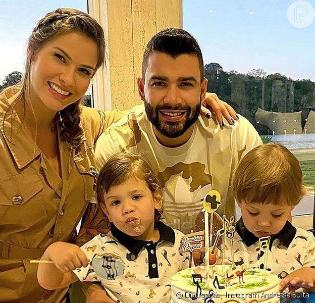 Andressa Suita e Gusttavo Lima estavam na mesma casa com os filhos, segundo fãs do ex-casal