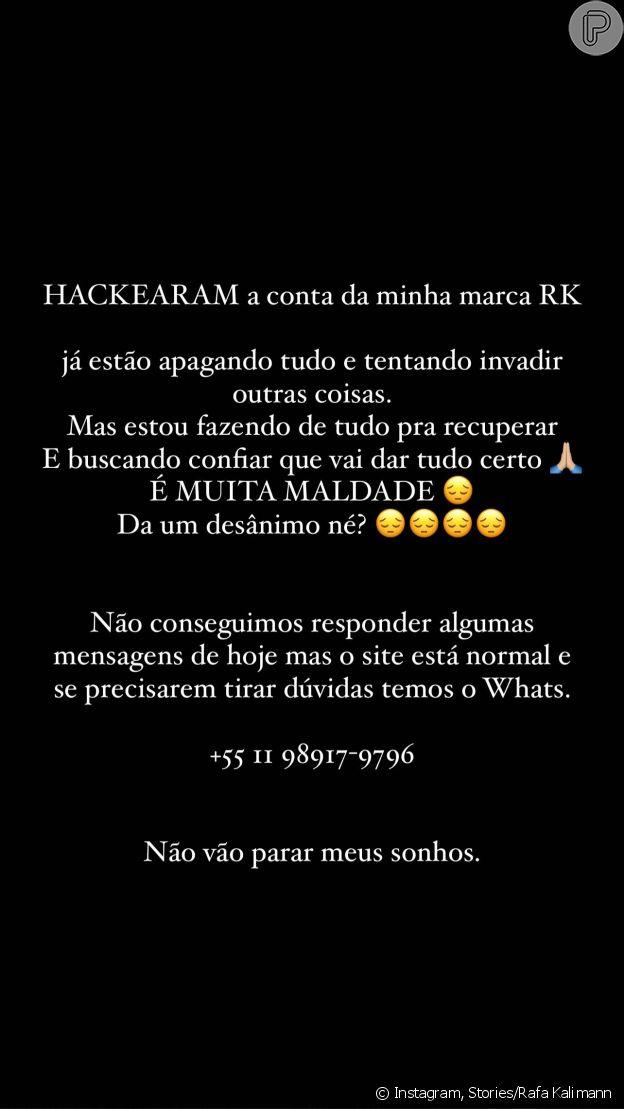 Rafa Kalimann posta desabafo sobre Instagram de marca hackeado