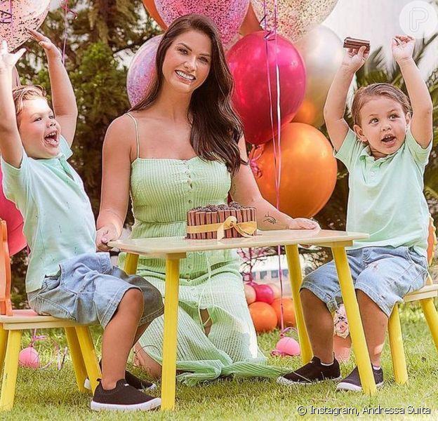 Semelhança de Andressa Suita com filhos chama atenção em montagem: 'Olhos verdes'