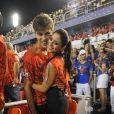 A morena assumiu o noivado com o modelo durante o desfile do Salgueiro, no primeiro dia do Carnaval carioca