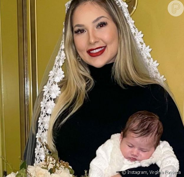 Virgínia Fonseca fez foto de noiva segurando a filha, Maria Alice, de 1 mês
