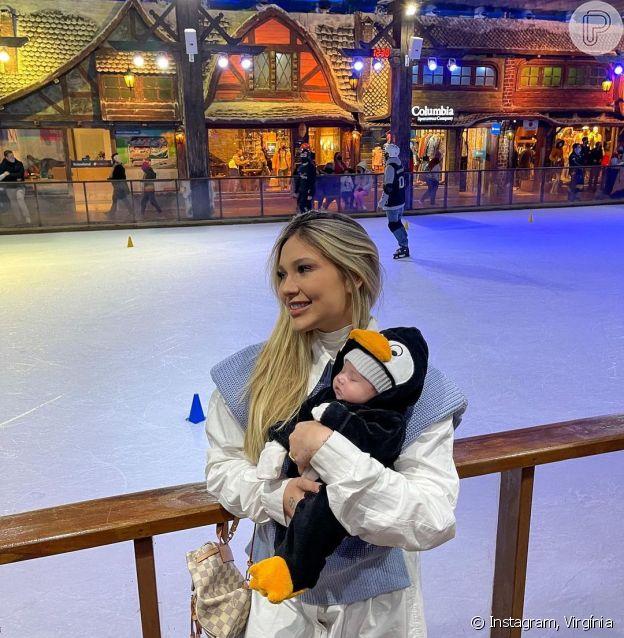 Virgínia Fonseca fantasia filha de pinguim em viagem a Gramado (RS)