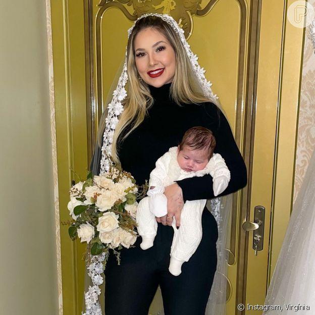 Virgínia Fonseca se veste de noiva e mostra que filha é quase tão pequena quando um buquê