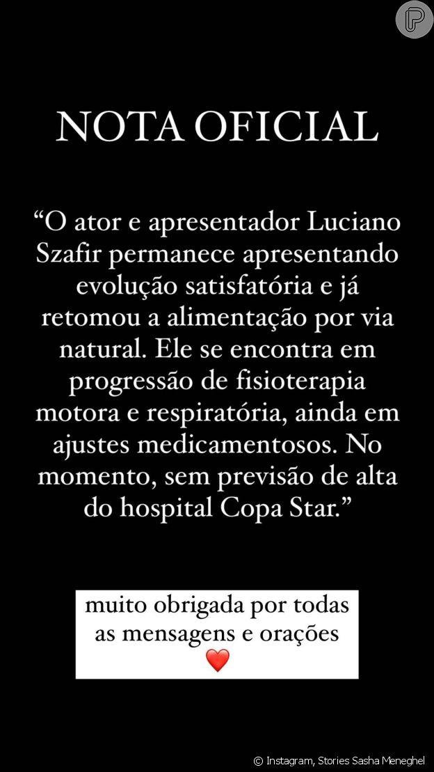 Sasha posta boletim médico de Luciano Szafir, que segue internado com Covid