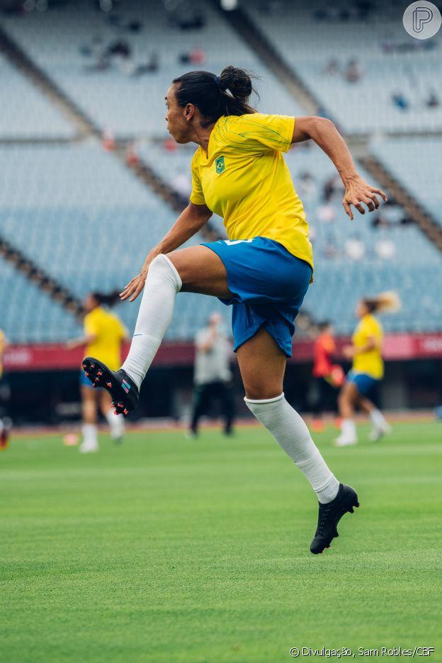 Marta tentou fazer comemoração em homenagem a Toni no primeiro gol que marcou na partida
