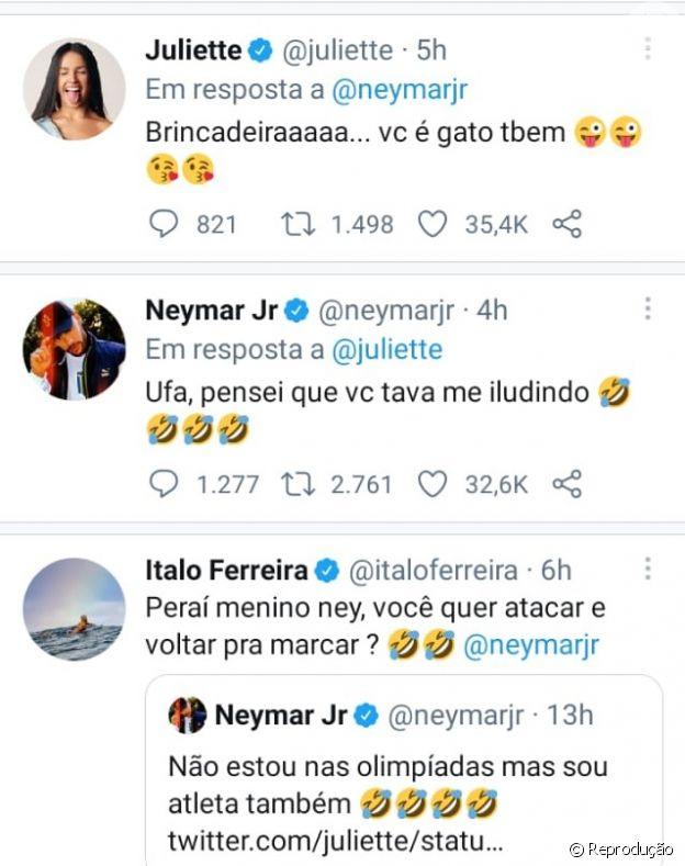 Juliette e Neymar tiveram conversa bem-humorada no Twitter