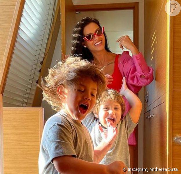Filhos de Andressa Suita roubam a cena em vídeo de publicidade para o Instagram, por gritos ao fundo e invadir a câmera