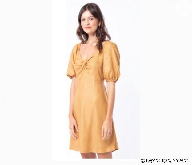 Vestido curto manga bufante Amarelo, Mercato