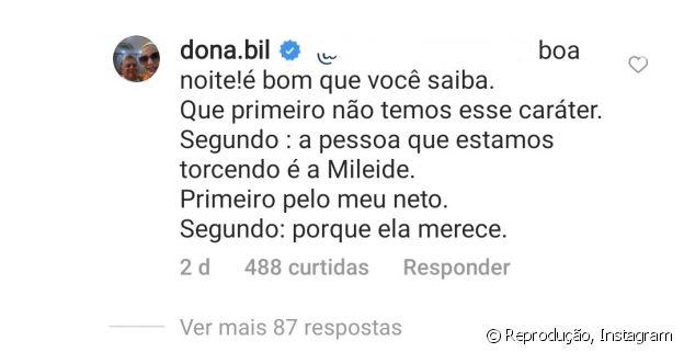Dona Bil declara torcida de família de Wesley Safadão por Mileide Mihaile