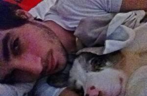 Fiuk posta foto fofa debaixo das cobertas com sua cadelinha Gaia