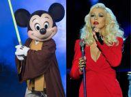 Christina Aguilera briga com Mickey durante comemoração de aniversário na Disney