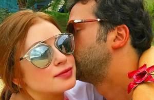 Marina Ruy Barbosa ganha beijo do namorado antes de voltar a gravar 'Império'