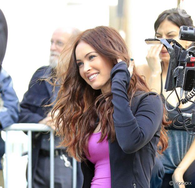 Megan Fox volta ao trabalho filmando o remake de 'Tartarugas Ninja' em Nova York, Estados Unidos, nesta terça-feira, 7 de maio de 2013