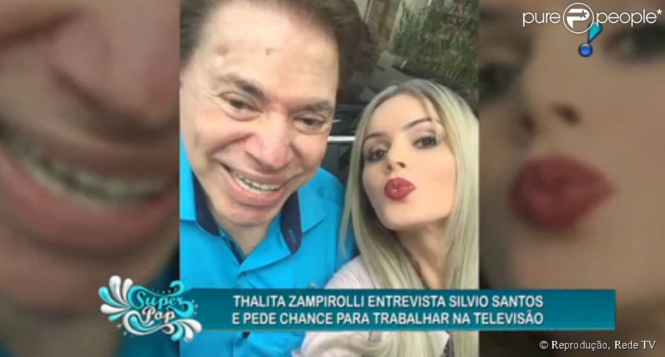 Silvio Santos recusa pedido de emprego para a modelo transex Thalita Zampirolli. A entrevista foi exibida no 'SuperPop', da Rede TV!, na noite desta quarta-feira, 13 de maio de 2015