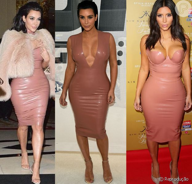 Obsecada por looks justos, Kim Kardashian aposta em roupas confeccionadas com látex