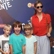Fernanda Lima leva os filhos à pré-estreia do filme 'Divertida Mente', no Rio