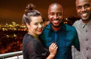 Thiaguinho e Fernanda Souza curtem festa ao lado de amigos no Rio