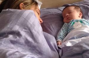 Fernanda Gentil dorme na cama com o filho e marido brinca: 'Perdi meu lado'