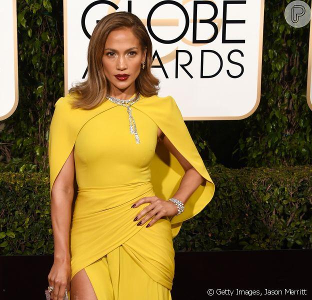 Jennifer Lopez no Globo de Ouro 2016 que aconteceu no domingo, 10 de janeiro de 2016, em Los Angeles