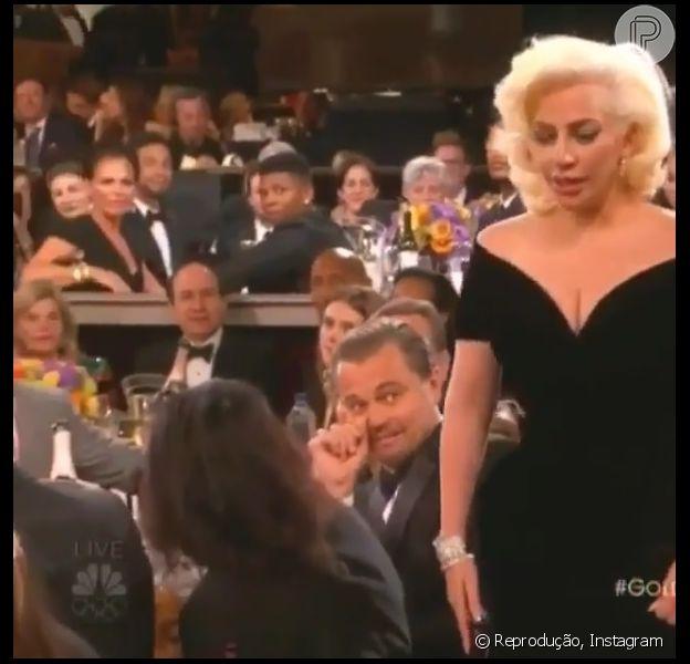 A reação de Leonardo DiCaprio à escolha de Lady Gaga como Melhor Atriz em Minissérie foi um dos assuntos mais comentados do Globo de Ouro, neste domingo, 10 de janeiro de 2016