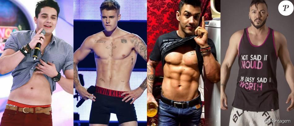 Cantores como Belo, Gusttavo Lima, Luan Santana e Justin Bieber saíram do corpo magro para um tanquinho sarado!
