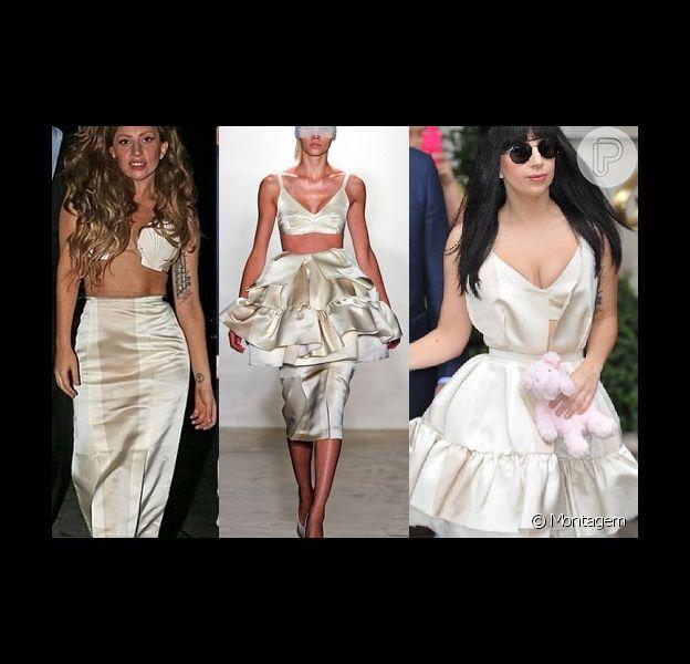 Lady Gaga customizou saia da coleção de Verão 2013 do estilista brasileiro Alexandre Herchcovitch e a transformou a peça em duas: uma saia e um vestido