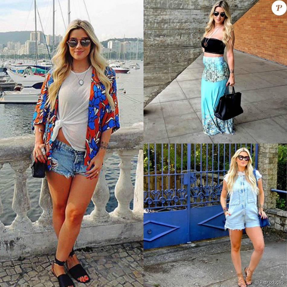 A ex-BBB Aline Gotschalg mostra que é possível manter o estilo mesmo durante a gestação. A loira aposta sempre em macaquinhos, top com saia longa e short jeans para fazer bonito por andar passa